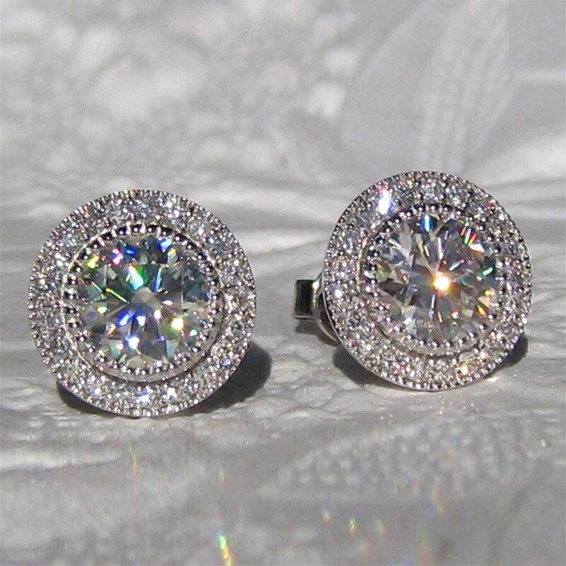 Женские серьги-гвоздики с фианитами, круглые серьги с серебряным покрытием, украшенные Фианитами, Свадебная и вечерняя мода