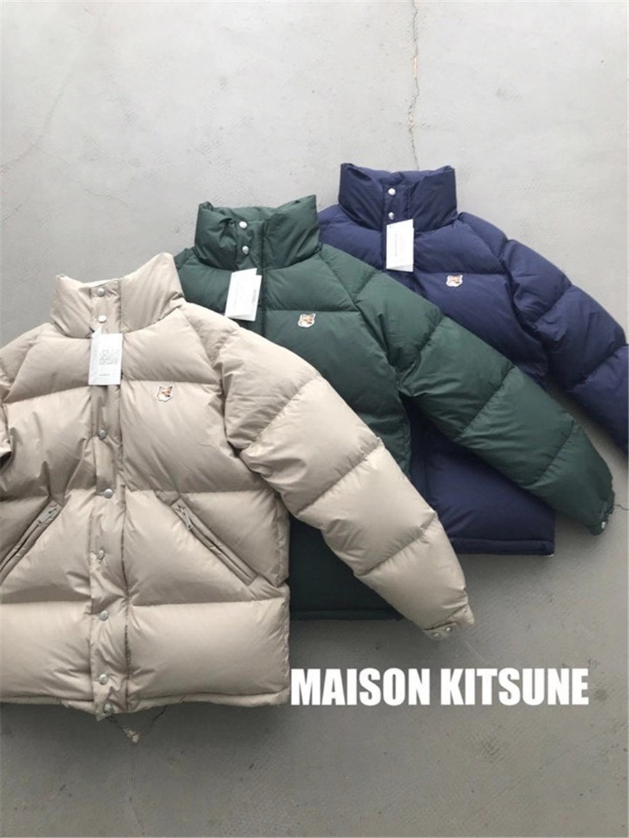 Winter Fox Embroidery Maison KITSUNE Warm Down Jacket Men Women High Quality Stand Collar Bread Coats Maison KITSUNE Outerwear