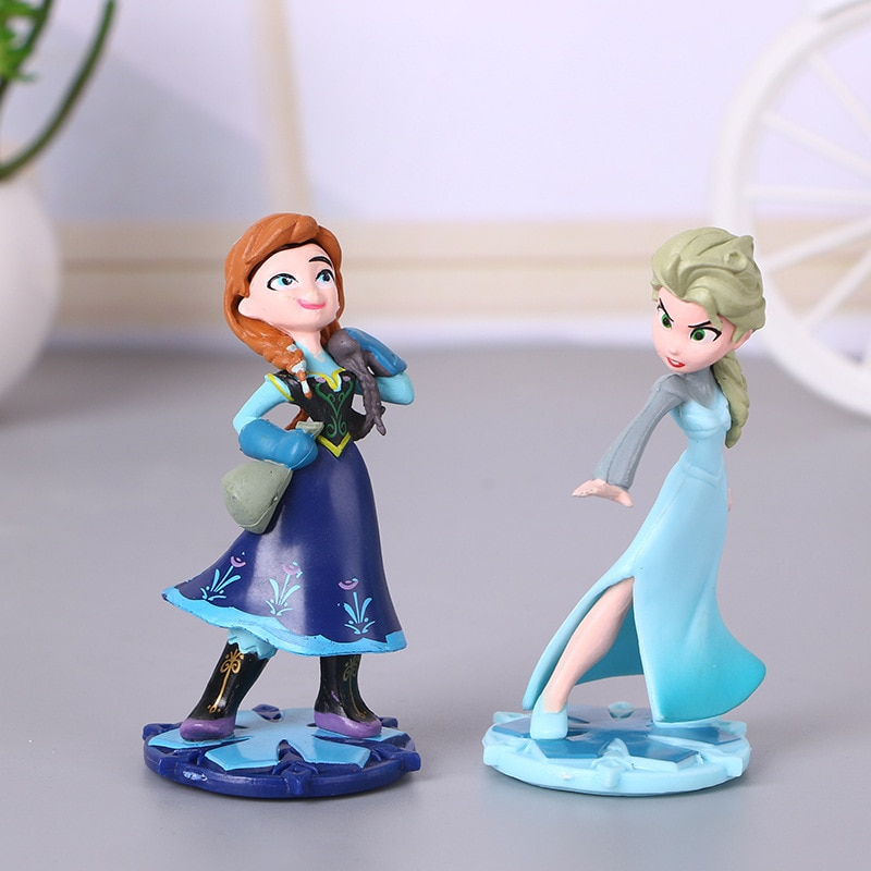 Anna Elsa princesa adornos DIY torta coche accesorios PVC modelos dibujos animados Anime figuras de princesas juguetes para niñas regalos de cumpleaños