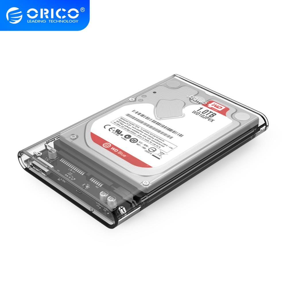 ORICO 2139U3, carcasa de disco duro USB3.0 transparente de 2,5 pulgadas, compatible con protocolo UASP, carcasa de disco duro
