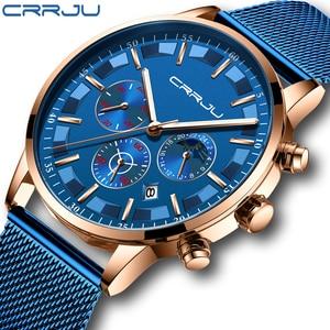 Мужские кварцевые часы CRRJU, синие многофункциональные наручные часы с хронографом и сетчатым браслетом, водонепроницаемые часы с отображен...
