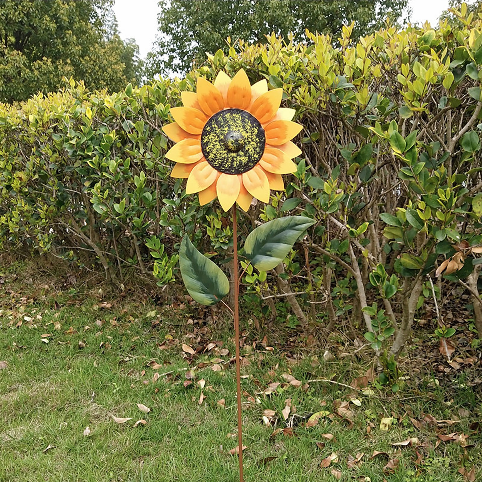 Sunflower Dual Spinning Windmill Spinner Garden Stake Windmill Outdoor Garden Patio Decoration Outdoor Yard Wind Spinners