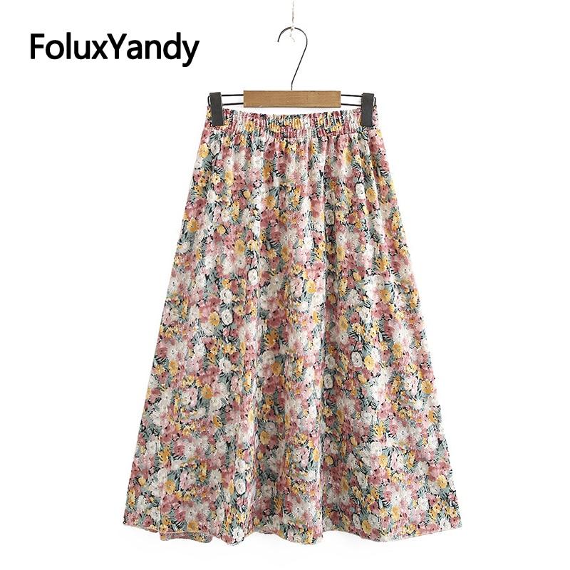 Linha a saia feminina floral casual plus size midi verão chiffon saia kkfy4499