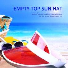 Summer Sun Hat Sunshade Hat Women Unisex Candy Color Transparent Empty Top Plastic PVC Visor Caps Bicycle cycling Sports Caps