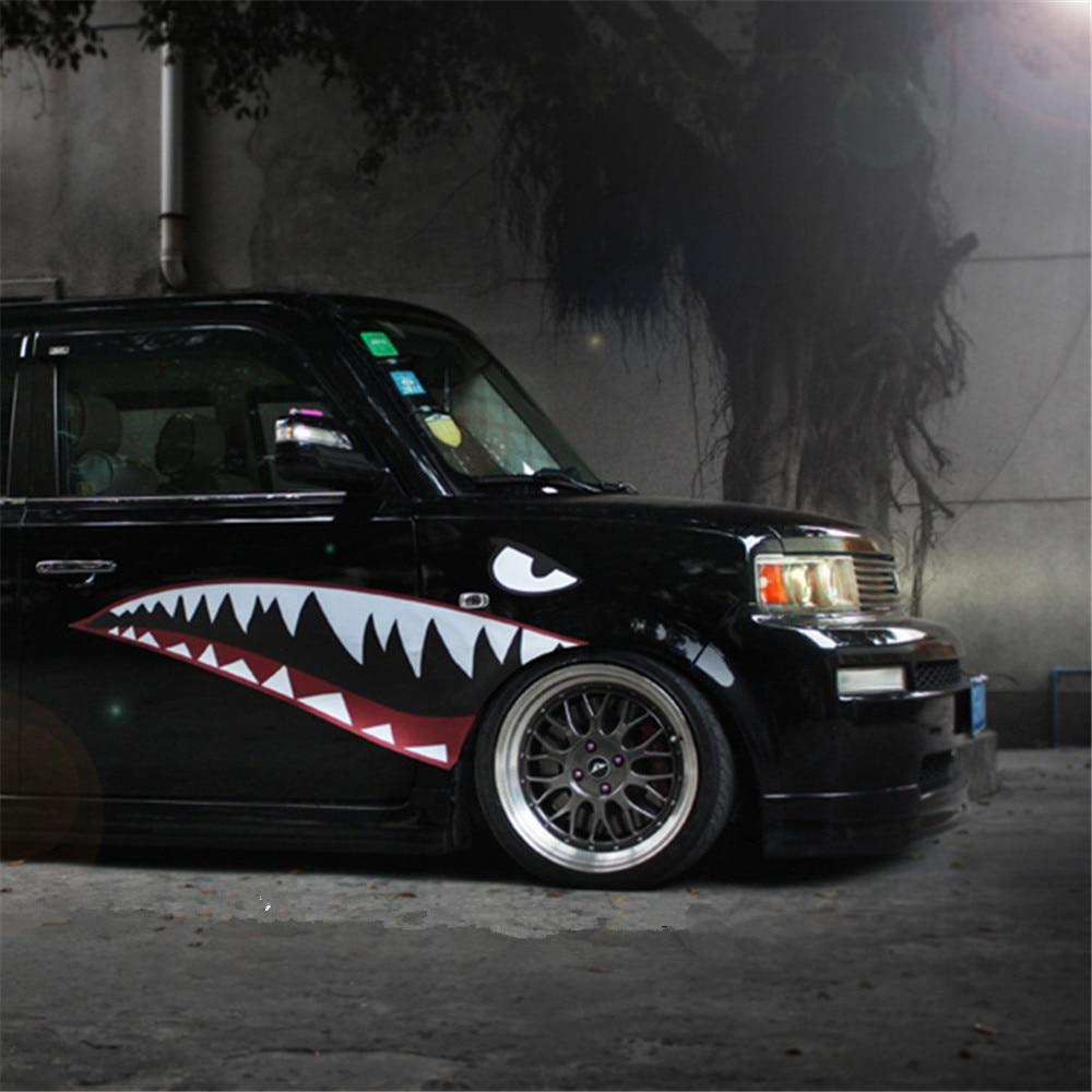 Купить с кэшбэком Personalized big shark mouth style 2pcs Car Sticker and Decals Car Decorative Supplies accessory car interior Vinyl