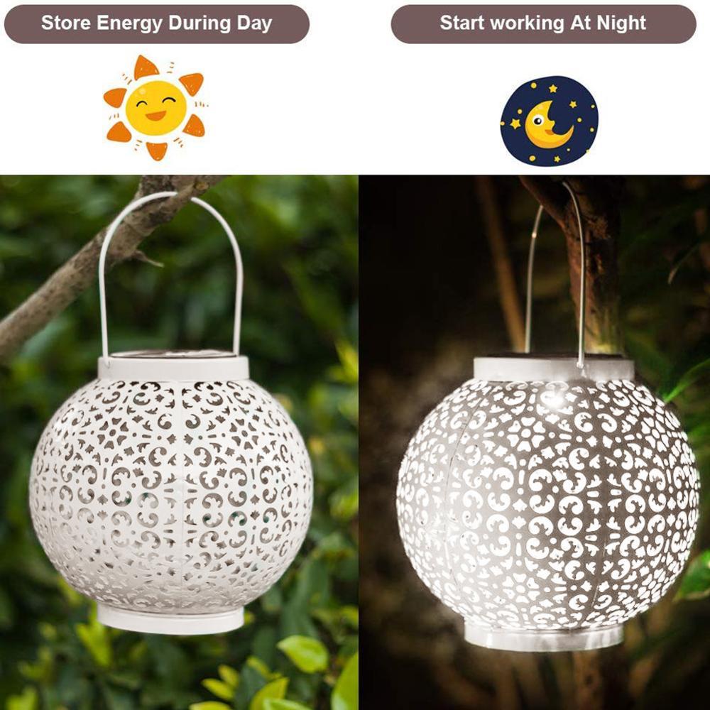 Outdoor Solar Lights, 1 Pack Hanging Garden Lantern Retro Design LED Solar Lantern Light Metal Waterproof Table Lamp with Handle enlarge
