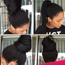 Fashion Synthetische Gevlochten Lace Front Pruiken Voor Zwarte Vrouwen 1b Hittebestendige 24Inch Twist Vlechten Pruiken Met Baby Haar hoge Kwaliteit