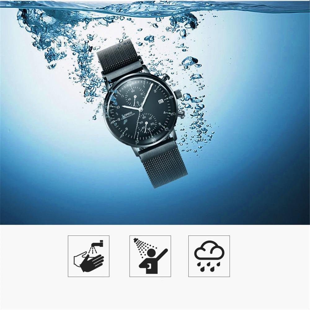 LOREO Luxury Brand Quartz Men Stainless Steel Black Watch 50m Waterproof Luminous Watches Calendar Watch Relogio Masculino 6112 enlarge