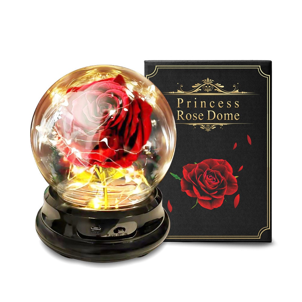Artificial flowers Eternal Rose LED Light Beauty The Beast In Glass Cover Wedding Home Decor For Birthday Mother Day Gift