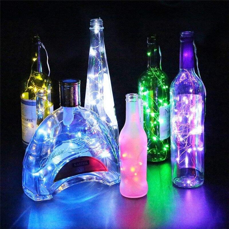 50 pces led luzes da corda 2m 20 leds a pilhas guirlanda garrafa de vinho luzes com cortiça para o ofício de vidro casamento natal dec