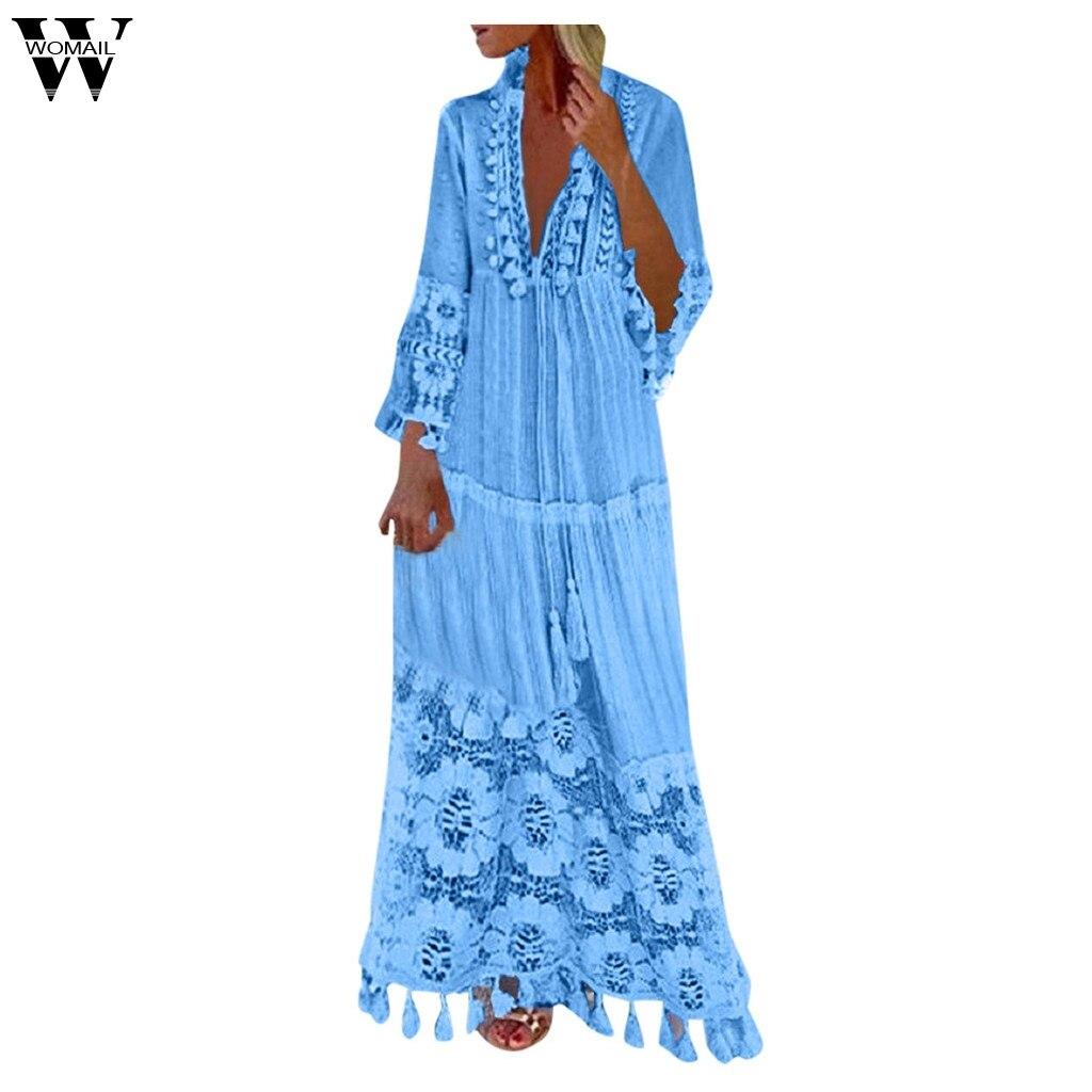 Womail 2019 nuevo estilo vestido de mujer casual bohemia Casual bohemio de gran tamaño con cuello en V Color sólido encaje borla vestido longo