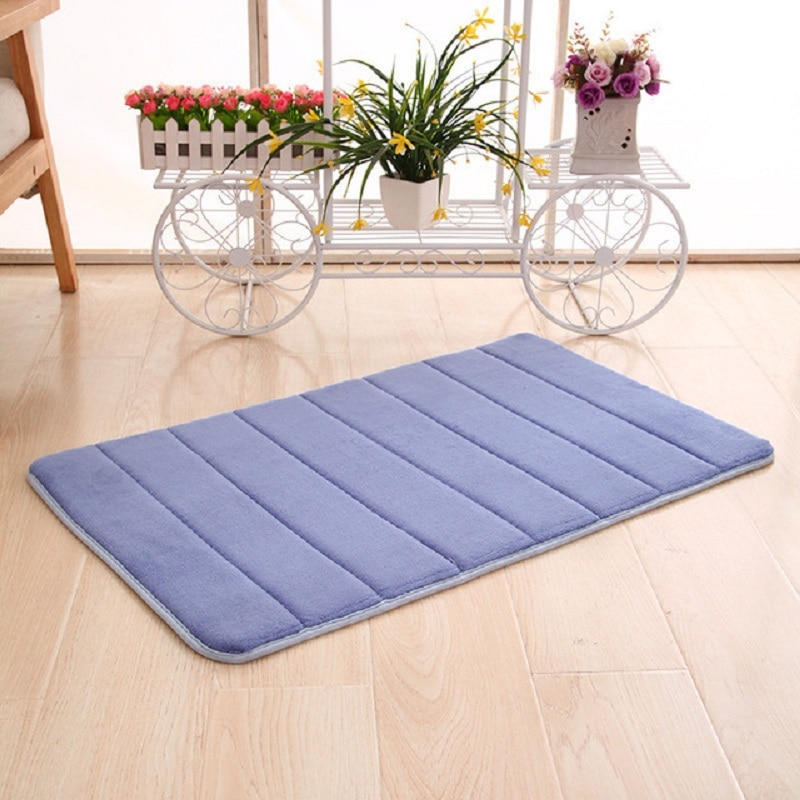 1 PCS Bath Mat Coral Fleece Bathroom Carpet Solid colour Water Absorption Non-slip Memory Foam Absorbent Rug Toilet Floor Mat