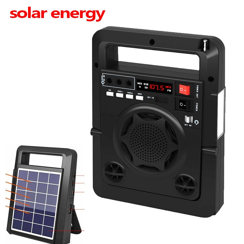 Solar Energy Charge FM Radio TF USB Speaker Outdoor Power Bank with Strong LED Flashlight EU Plug