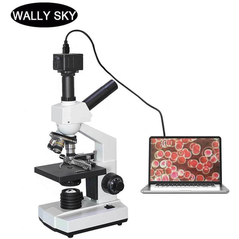 40X-1600X Dual-View Compound Microscope LED Lab Blood Cells Mites Sperm Biological Microscope 5.0MP USB Digital Camera Eyepiece free shipping ce focusable 0 5x microscope camera eyepiece adaptor with 23 2mm interface