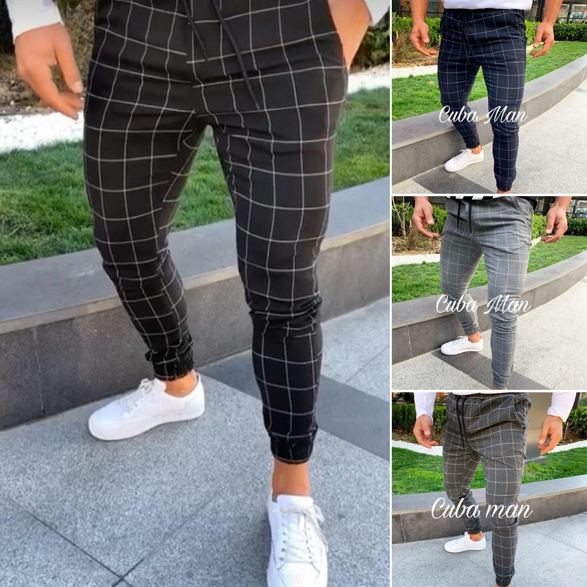 Брюки мужские прямые в клетку, Модные зауженные штаны с завышенной талией, повседневные джоггеры с завязкой, весна-осень
