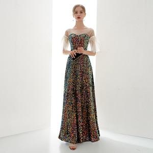 Evening Dresses Evening Long 2020 Sequined Vestidos De Fiesta Formal Dress Women Elegant Evening Gown Special Occasion Dresses