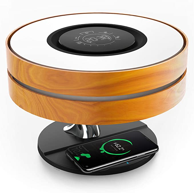 Bedside Lamp with 10W Wireless Charger and TWS Bluetooth Speaker, Night Lamp Ambient Lamp with Digital Clock, Stepless Dimming a