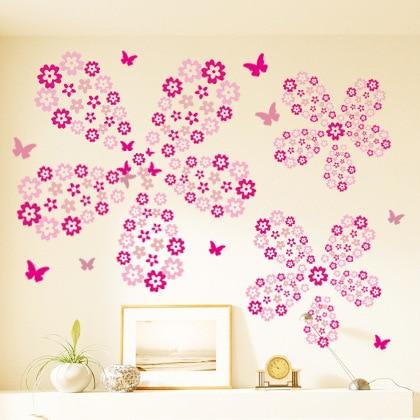 Hogar dormitorio Salón/Sala de bodas niños niñas 124 Uds Flores y 7 mariposas DIY etiqueta extraíble para pared