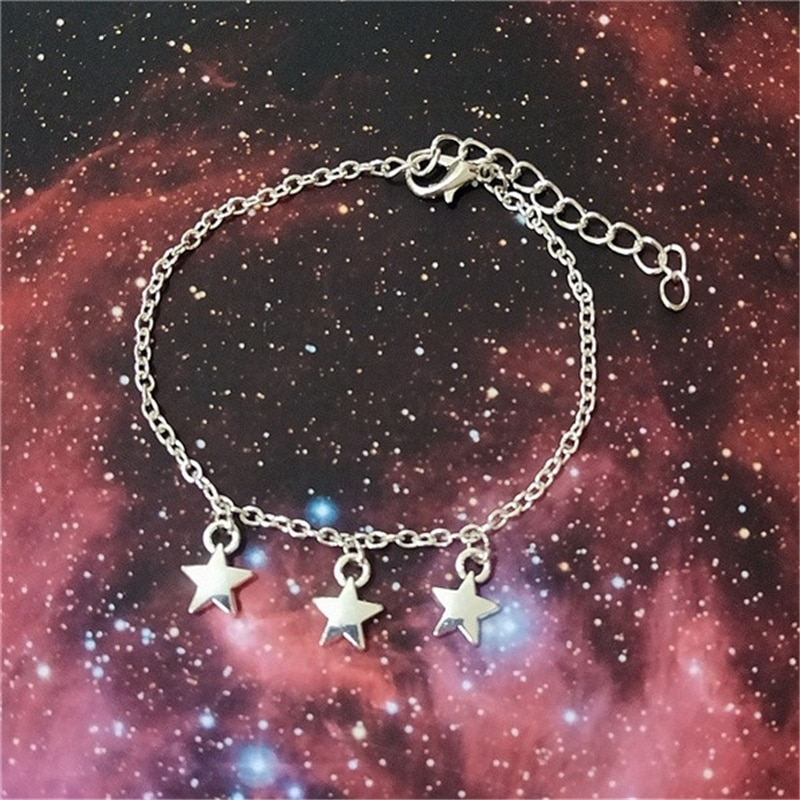 Antiqiue prata cor estrelas prata cor pulseira, pequena estrela pulseira, espaço jóias, charme pulseira, presente de natal para ela
