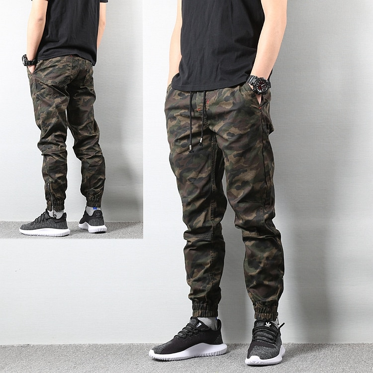 Fashion Brand Fall Casual Pants Skinny Pants Camouflage Ankle Banded Pants Overalls Trousers Large Size Men's Thin trousers men