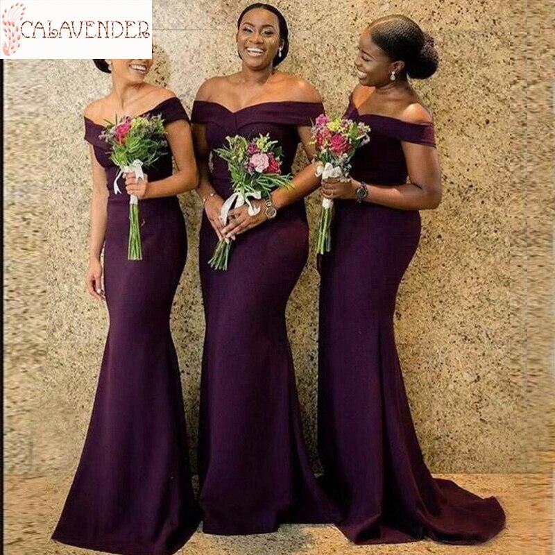 Vestido de dama de Honor púrpura con hombros descubiertos, Camiseta larga, vestido...