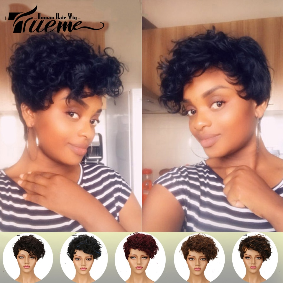 Trueme brasileño de la onda de agua pelo Remy pelucas de cabello humano corto para las mujeres negras Mohawk La corte Pixie pelucas Color Rojo