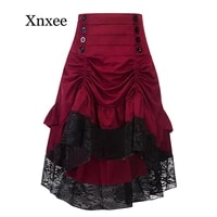 costumes steampunk gothic skirt lace women clothing high low ruffle party skirts lolita red medieval victorian gothic punk skirt