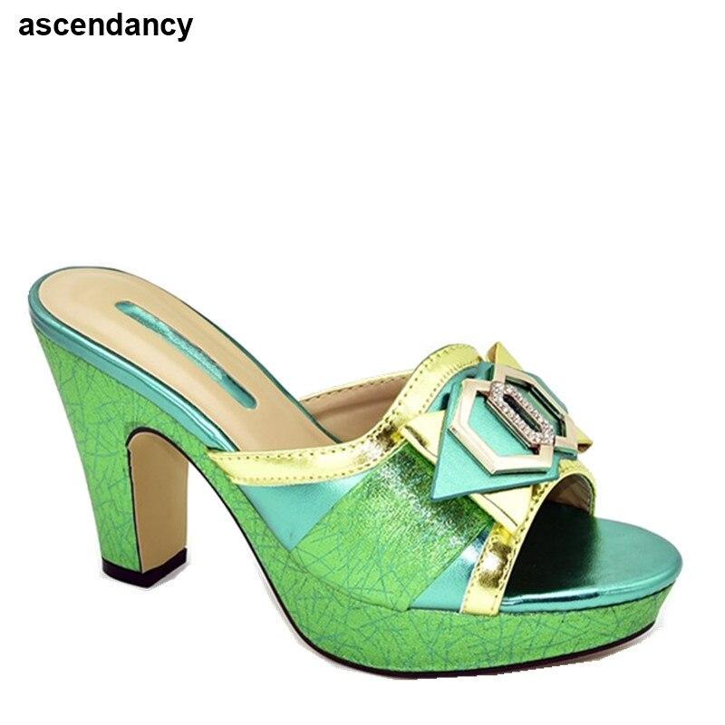 Туфли женские на высоком каблуке 11 см, удобные босоножки на платформе, модные особые африканские материалы, летняя обувь
