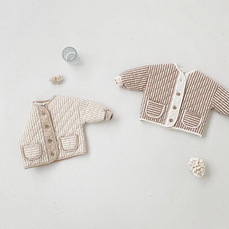 2021 New Baby Boy Autumn Long Sleeve Coat Single Breasted Cotton Kids Jacket Retro Children Coat Cas