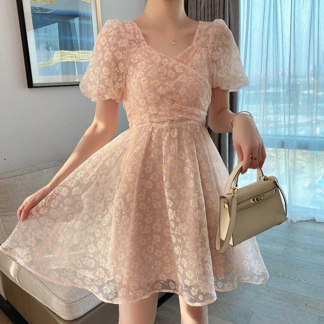 French Vintage Mini Dress Female 2021 Summer Lace Korean Evening Party Dress Women Casual Fariy Bow Lace Elegant One Piece Dress
