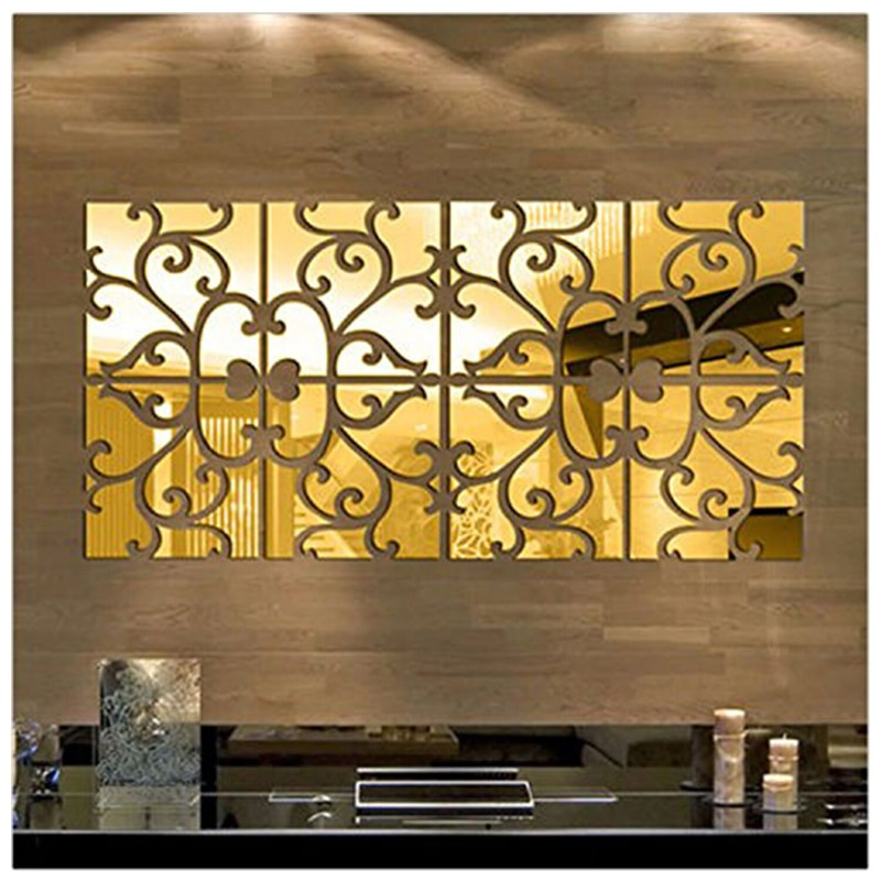Espejo en forma de corazón pegatina acrílica para pared 3D estéreo Adhesivo de pared habitación sala de estar fondo de sala pared corazón romántico decoración atística de pared