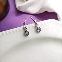 mihan s925 needle women jewelry purple glass earrings 2021 new design silvery plating dangle drop earrings for lady gilr gift