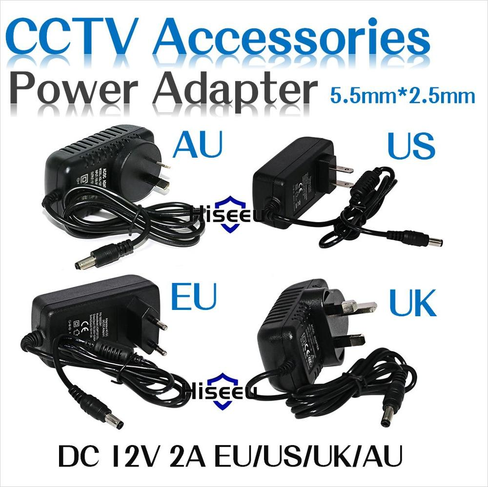 Power Supply Adapter AC 100-240V to DC 12V 2A Charger Converter EU UK US AU 5.5*2.5mm Plug For LED Light/LCD Monitor/CCTV Camera enlarge