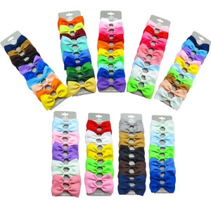 20PCS/Lot Lovely Rainbows MIX Colors Hairpins Grosgrain Ribbon Bow Clips 2020 Korean Creativity Hair Accessories For Baby Girl