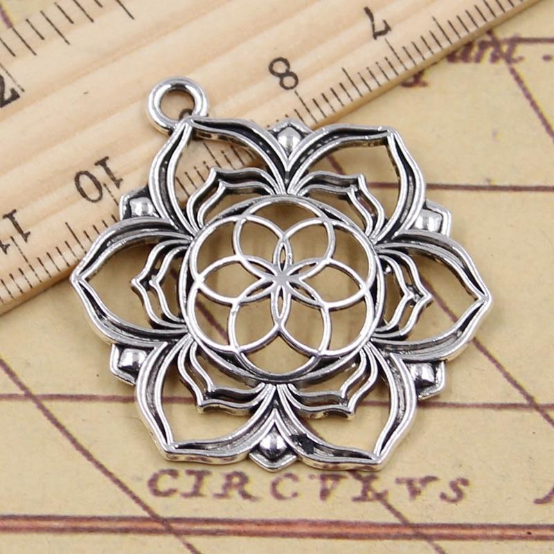 10 Uds. Amuletos Yoga flor vida Datura Stramonium 43x35mm tibetano Color plata colgantes joyas antiguas hacer DIY artesanal