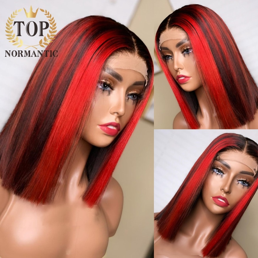 Topnormantic Highlight Red Color Straight Wigs For Women Brazilian Remy Human Hair 13x4 Lace Front Straight Bob Wig Preplucked
