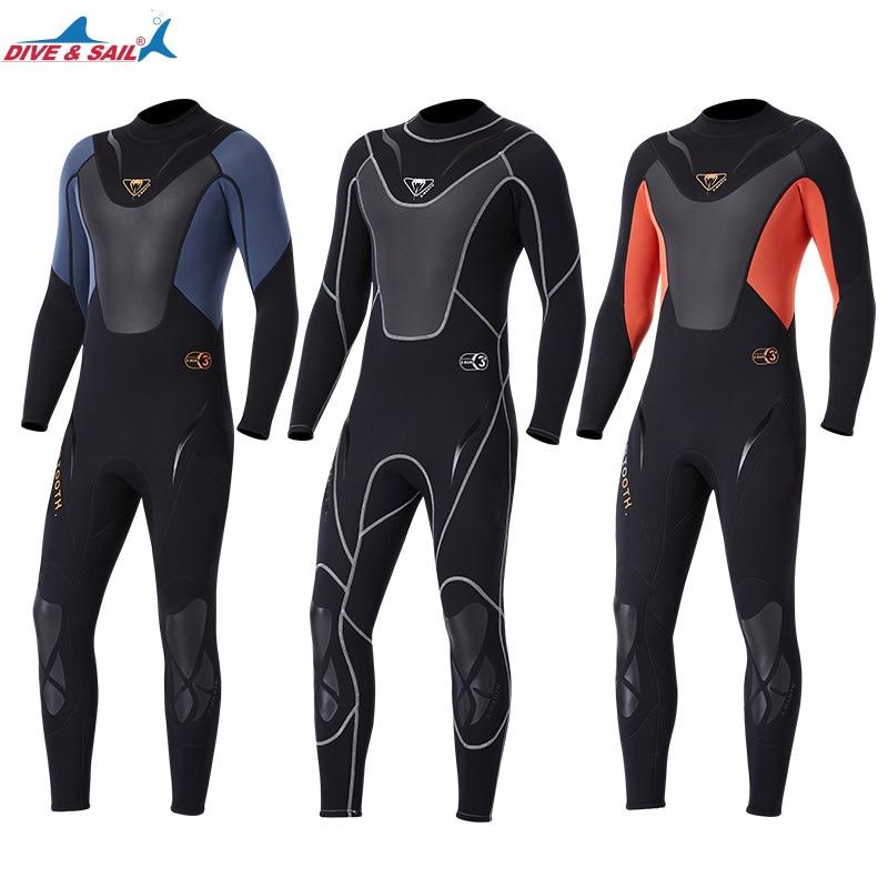 Traje de neopreno de 3mm de cuerpo completo para hombre, traje de buceo para surf, traje de triatlón para buceo en agua fría