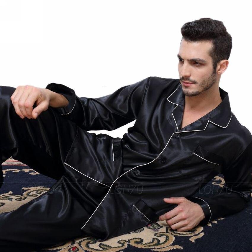 Pijama masculino de cetim de seda, conjunto para roupa de dormir u.s. s, m, g, gg, xxl, xxxl, 4xl