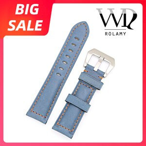 Rolamy 22 24mm Top Watch Band Silver Brushed Buckle Sky Blue Real Leather Replacement Thick Vintage Wrist For Panerai Luminor