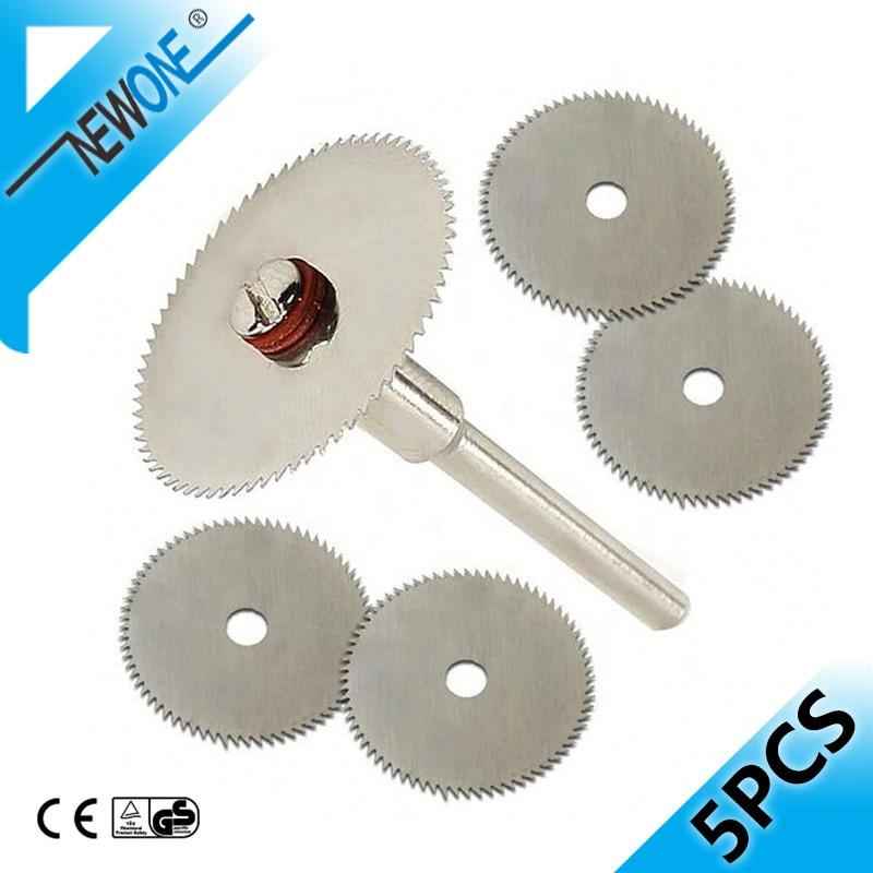 """5 vnt. 22 mm nerūdijančio plieno mini diskinio pjūklo diskinis metalinis ratų pjovimo diskas su 3 mm fiksuoto strypo strypu """"Dremel"""" sukamiesiems įrankiams"""