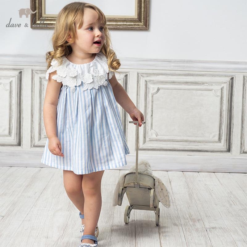 DBJ14117 dave bella summer baby girl's princess floral striped dress children fashion party dress kids infant lolita clothes