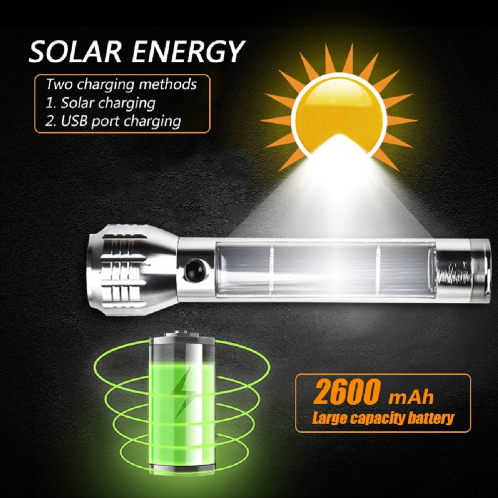 Solar LED Torch Flashlight Energy Saving Solar LED Charge USB Rechargeable Flashlight Zoomable Torch Emergency Flashilight