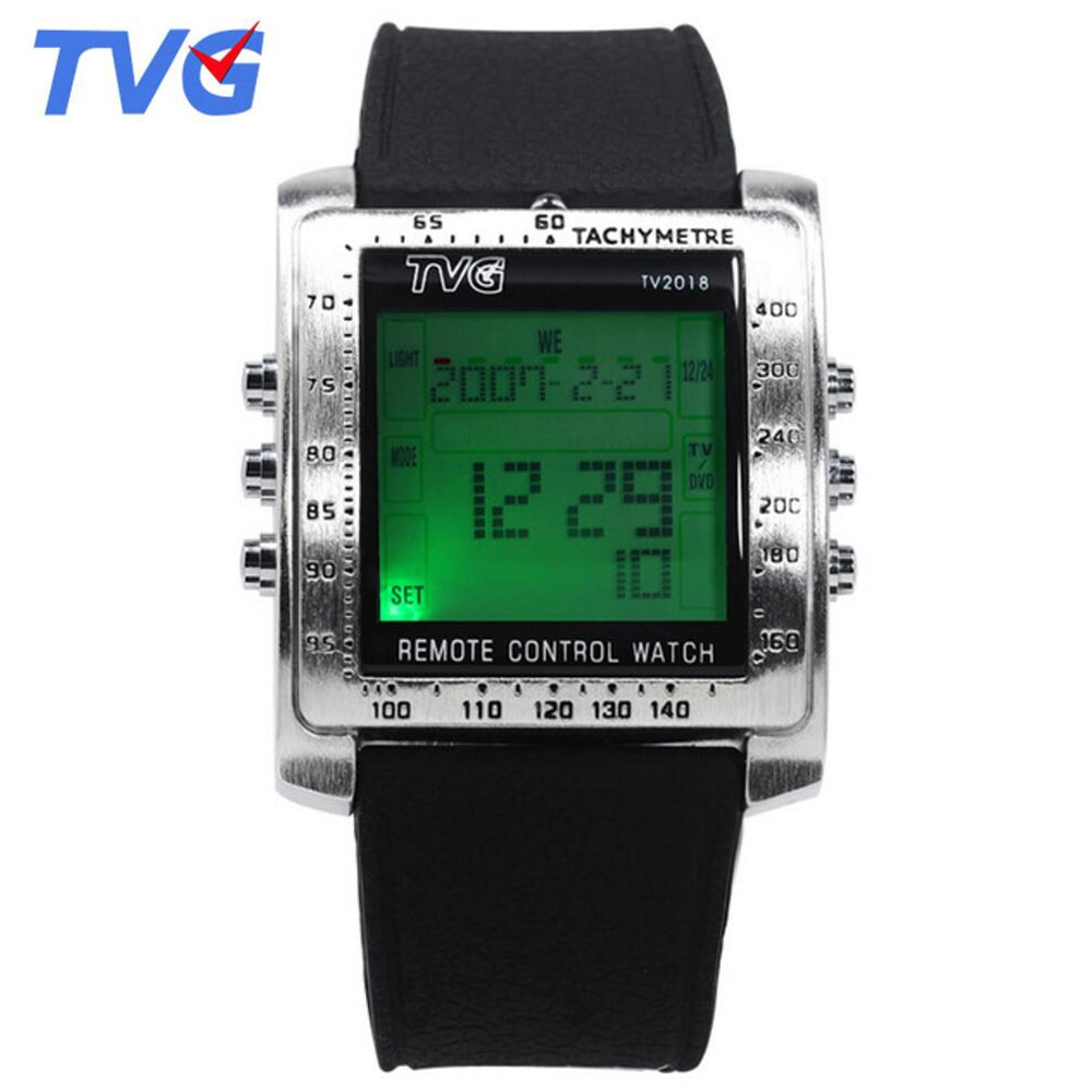 Fashion Square Watch Men Led Digital Watches Black Rubber Sports Multifunctional Electronic Watches Men TV Remote Control Watch
