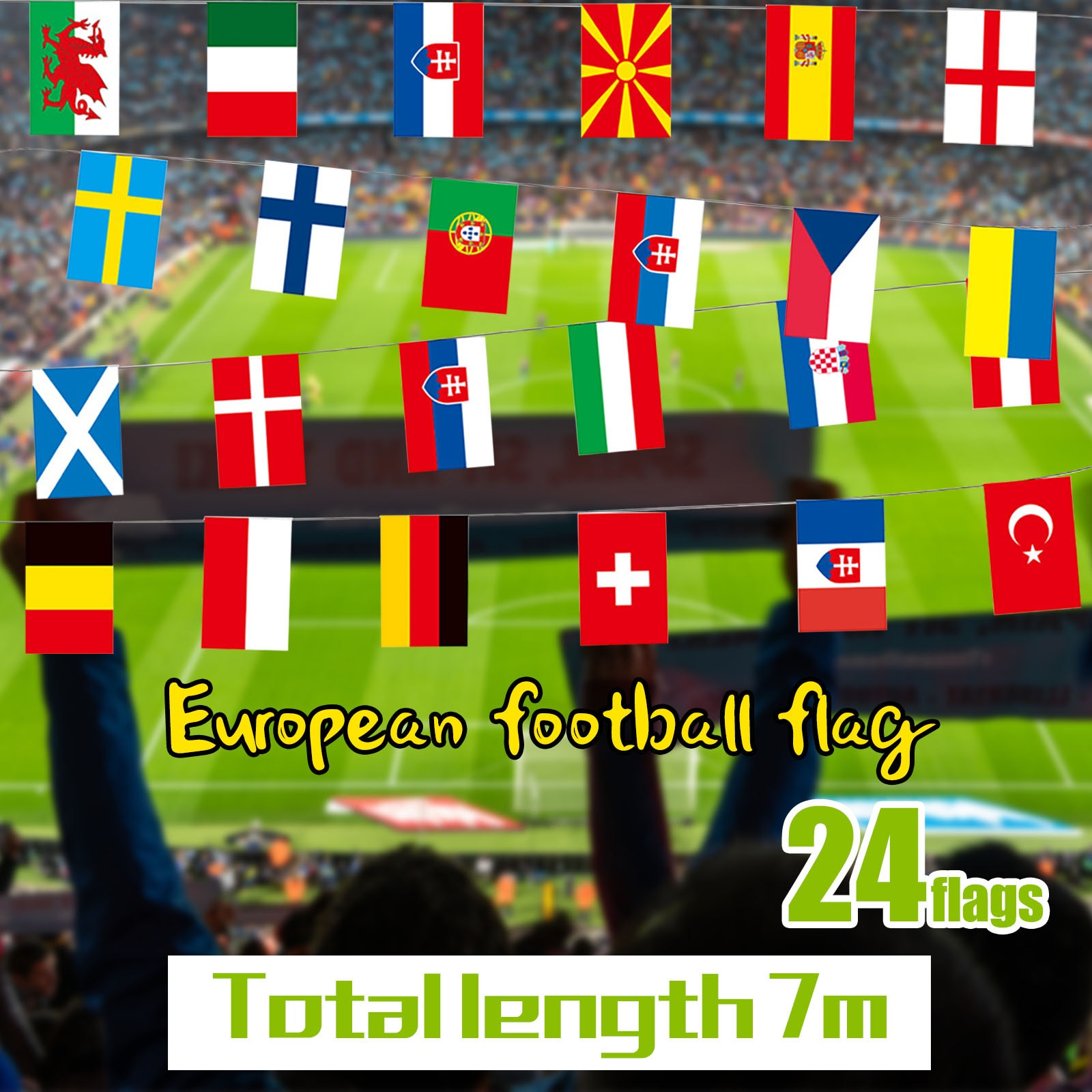 European Cup String Flags World Countries Flags 2021 European Cup Football Decor Small Flag Abanner Bunting Декор Комнаты