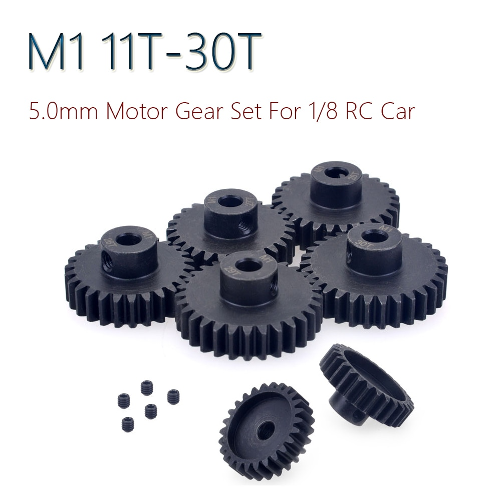 5Pcs M1 5mm 11T-30T Metall Ritzel Motor Getriebe Combo Set für 1/8 RC Buggy auto Monster Truck Gebürstet Bürstenlosen Motor