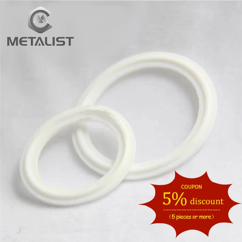METALIST PTFE Grooved Gasket Fits 19.25.32.38mm OD pipe & 50.5mm OD Sanitary Tri Clamp Type Ferrule Flange in Gaskets