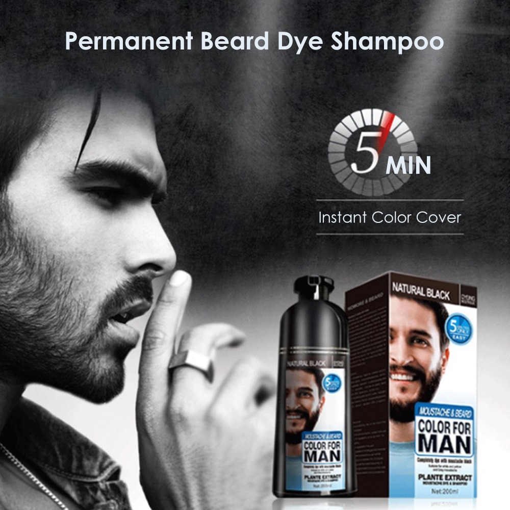 100% Natural Beard Dye Cream Men Mustache Beard Cream Natural Black Dye Wax Fast Color Long Lasting Black Beard Care Tint Cream