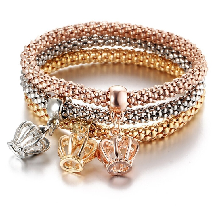 3 Pcs/Set Crystal Owl Heart Charm Bracelets & Bangles Gold/Silver Color Crown Pendants Rhinestone Bracelet For Women