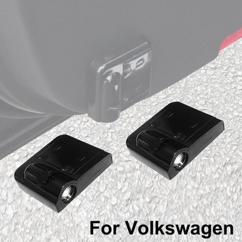 2 uds. Luz LED para puerta de coche para Volkswagen Lamando Beetle Passat B4 Polo 6N 6n2 9n 9n3 6r t-transport Vento proyector