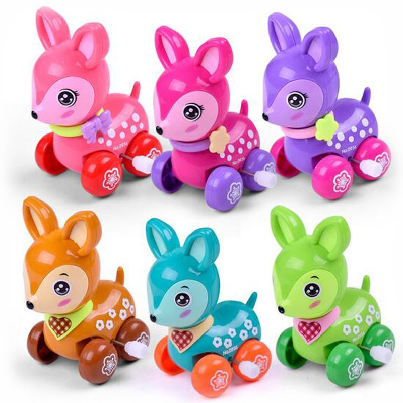 1 Pc Cute Plastic Cartoon Deer Winding Up Chain Early Educational Toys for Kids Children's Puzzle Creative Toys Funny Games